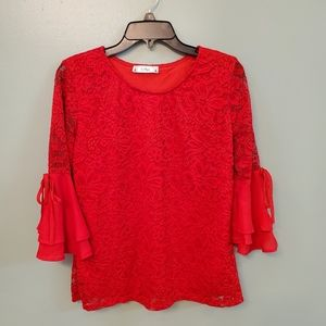 Lody's Boutique Red Wide sleeve Top